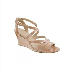J Crew Marci Patent Wedges Leather Size 5 Tan